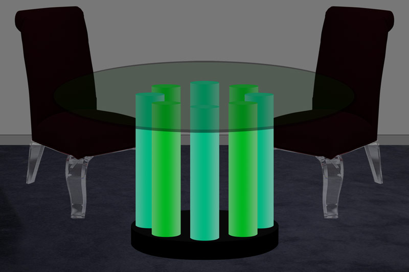 Acrylic Column LED Dining Table