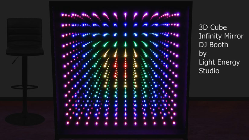 3D Cube Infinity Mirror DJ Booth