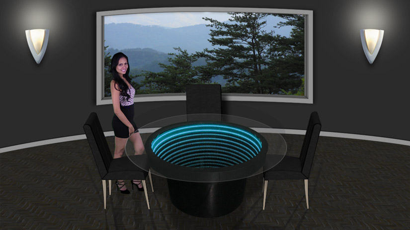 Infinity Mirror Wall Displays and Infinity Mirror Tables : inf dining table w chairs 1 from lightenergystudio.com size 825 x 464 jpeg 82kB