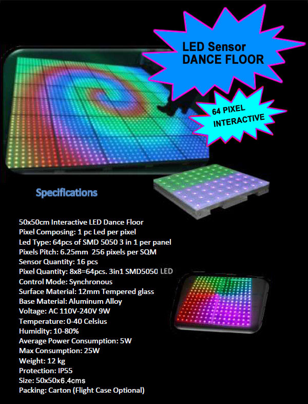 Interactive Dance Floor with Touch Sesitive, and Abstract Visual