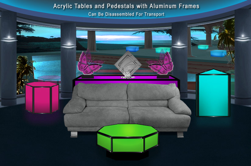 LED Acrylic Tables With Aluminum Frames   Easily Disassembled For Transport