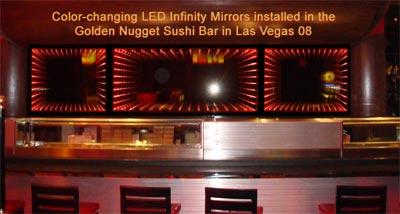 Color-changing LED Infinity Mirror at the Golden Nugget in Las Vegas